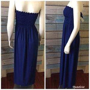 Dresses - 🛍4/$20 Strapless Beach Maxi Blue Dress Size Small